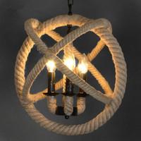 Retro Nostalgia Hand-woven Hemp Rope Chandelier Suspended Ceiling Vintage Loft Style Pendant Lamp Dia 43cm