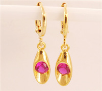 Free Shipping 1pair=2pcs 18K Gold Filled AAA Around RED Ruby Cubic Zirconia Classic Women's jewelry Drop Earrings TD260