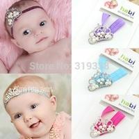Baby Girl Princess Crown Headband Crystal Pearl Tiara Pink Headband for Newborn Infant Toddler Photography Prop 10pcs/lot HB287