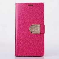 For LG G3 Stylish Shine Diamond Rhinestone Case Customized Wallet Holster For LG Newest Brand Bling Skin