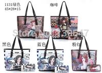 New 2014 women leather Messenger bags Graffiti Handbag lady bag Fashion Wild handbags Printing one Shoulder Bag N1131