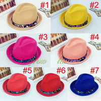 2014 New Fashion 100% WOOL Baby Spring and autumn and winter Fedora Hats Girls Top Hat Children Felt Hat 1pc Free Shipping