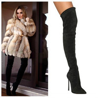 2014 New Black Suede Leather Elastic Thin High Heel Autumn Boots Over Knee Women Boots Pointed Toe Thigh High Boots Shoes Woman
