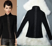 Hot Sale!!! New 2014 Women Patchwork Mesh Shirt  Embroidered High  Collar Long-Sleeved Shirt Diamond