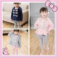 Wholesale 5 PCS/lot child flower button long-sleeve jackets fashion Children's coat free shipping