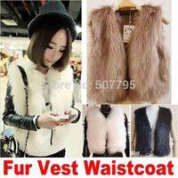 Free Shipping 2014 female Short Coat For Wome Fashion Winter Sleeveless Warm Faux Short Fur Vest Waistcoat Retail Joker Brand