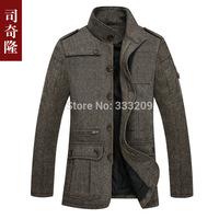 New Fall&Winter Men Wool Jacket 2014 Men Causal Woolen Overcoat Man Fashion Warm Wool Outwear Men Business Coats Free Shipping