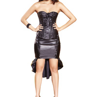 Push Up Sexy Leather Steel Boned Corset Overbust Black Steampunk Corset Waist Training Corsets And Bustiers Top Bandage Corselet