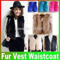 Free Drop Shipping 2014 Short Coat For Wome Fashion Winter Sleeveless Warm Faux Short Fur Vest Waistcoat Retail Joker Brand