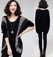 2014fashion women clothes big size batwing sleeves stripe patchwork loose slim comfortable spring autumn long sleeve t shirt 4XL