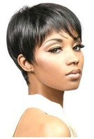 High Quality Heat Resistant Synthetic Black Short Straight Wigs 10pcs/lot free shipping mix order