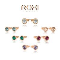 ROXI fashion genuine Austrian crystal Snow lotus earrings fashion women jewelry Christmas /Birthday gift 2020014210