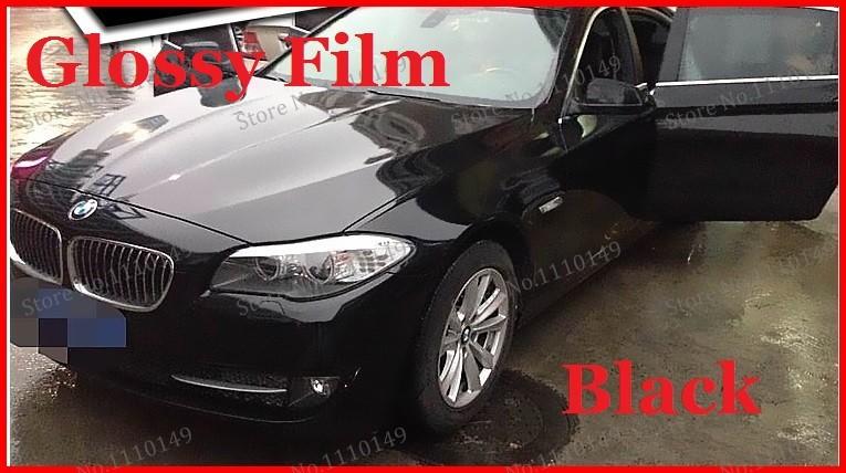 1 pc 1.52MX0.5M Black Glossy vinyl film bright Glossy car warp sticker with bubble free FREE SHIPPING(China (Mainland))