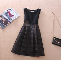 2014 Winter Women Dress Elegant Sleeveless Down Cotton Slim Dress Black  Office Star Thick Dresses Roupas Femininas