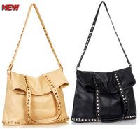 Promotion Hot 2014 new rivet package folding flannel bag shoulder bag brand fashion barrel shaped Rivet Studded Messenger Bags
