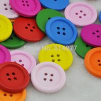 Upick 40pcs Mix Circular Wood Button 4 holes Craft Sewing Big Size 30 mm