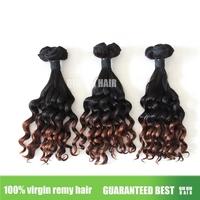 Free shipping QINQIN hair Super  Virgin Brazilian human Hair 3sets lots ombre  hair dounble drawn1b#/4# Meril Curl half dee wave