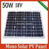 monocrystalline silicon Solar Panel 50W for 12V solar photovoltaic power system,50Watt 12VDC PV mono solar Module free shipping
