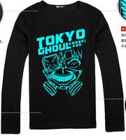 New fashion long sleeve tshirt Japan Anime Tokyo Ghouls Ken Kaneki Light noctilucence cosplay costume tshirt tee
