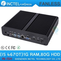 Small fanless pc i5 with Intel Quad Core i5 4670T 2.3Ghz CPU HDMI VGA DP Three display 4G RAM 32G SSD 32G SSD 1TB HDD 1TB HDD