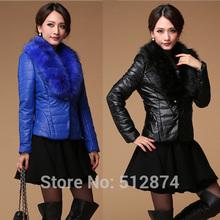 New Arrival Fashion Women Leather Jacket Womens Leather Jackets And Coats Ladies Leather Jacket Women Warm Fur Collar Overcoat(China (Mainland))