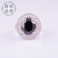 Fashion Luxury hot sale big 18k plated crystal rhinestone created diamond black rings for women  free shipping JZ003