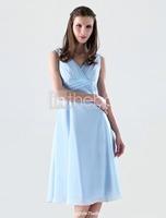 2015 New Arrival  Women Elegant A-Line V-Neck Tank Pleat Mid-Calf Chiffon Short Prom Dress Party Gown Formal Evening Dresses