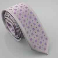 YIBEI Coachella Man Fashion Skinny Neckties Slim Jacquard Gravatas Lilac Ties Small Dots Checked Woven Narrow Neck Tie Wedding
