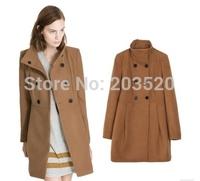 elegant long sleeve double-breasted women empire peplum winter parka coat cashmere coat jacket size Free Shipping