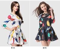 women bird print dresses 2014 new fashion style o neck full length cute dress for girls autumn dress free shipping
