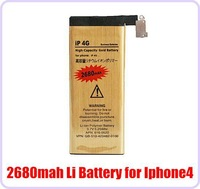 High Quality High Capacity Li-ion Battery 2680MAH Gold Replacement Repair parts Battery for iPhone 4 4G iphone4 with Flex Cable