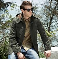 DHL Free Shipping Hooded Plus velvet and gross men's long coat Men's casual jacket Cotton Outdoors warm jacket  Big Size XXXL