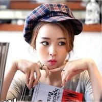 2015 Winter Korea tide retro British style hit color plaid pattern octagonal cap newsboy caps hats wholesale female painter