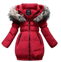Retail winter down jackets for girls warm Fur collar winter coat girl down coat 90% White duck down