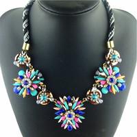 2014 Fashion Crystal Chokers Women Statement Pendant Necklaces Vintage Flower False Collar brand Jewelry Necklaces & Pendants