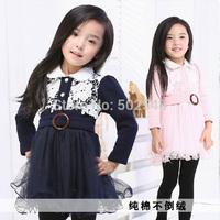 2014 Autumn Girls Dress Children Baby Hollow flower Long Sleeve Princess Dress Kids Clothing Free Shipping 5 PCS