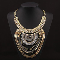 Fashion Boho Style Exaggerated Multilevel Chain Statement Necklaces Women Evening Dress Jewelry Choker Accessories 1pcs/lot