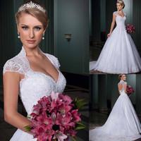 Vestidos de Noiva 2014 Sweetheart Open Back Cap Sleeves Wedding Dress Bridal Gown Vestido de Casamento Removeable Train LT116