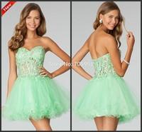 2014 Free Shipping Custom-made Tulle Sweetheart Strapless Ball Gown  Mini Short Beaded Homecoming Dresses Sage Short Girl dress