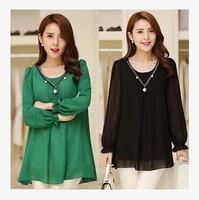 free shipping ! female solid loose chiffon shirt girl's o-neck beading blouse women's autumn plus size clothing 4XL