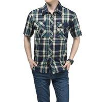 2014 Plaid Men Cotton Spring Summer Shirt Business Big Size Red Outdoor Men's Short Sleeve Dress Shirt