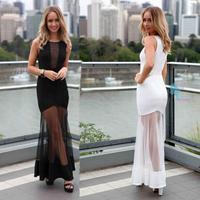 Long nightclub sexy dresses 2014 Fall perspective mesh stiching white tuxedo pleated lace dress put on a large women dress