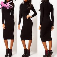 vestidos Autumn&Winter Slim Fit Long Sleeve Turtleneck Knee-Length Bodycon women dresses Sexy Black Base bandage dress XQZ031