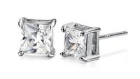 2014 Wholesale Fashion Men Earrings Swiss Crystal Square stud Earrings