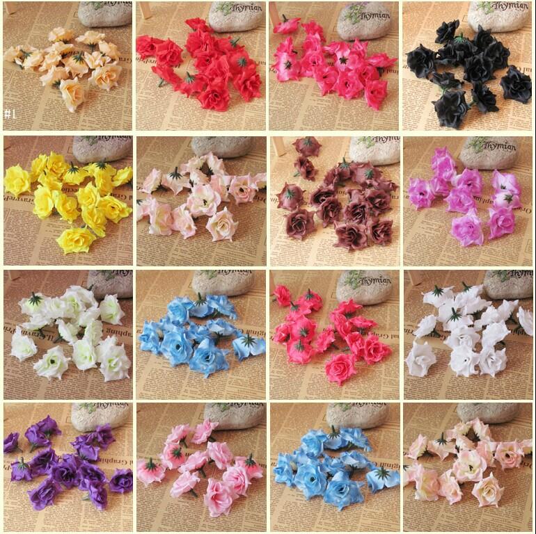 50pcs/bag 5cm DIY wedding decorative silk flowers party deco Fake artifical flowers mesh rose head accessories A125(China (Mainland))