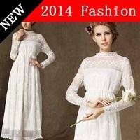 autumn dress 2014 new fashion desigual white vestido longo lace renda vintage women long dresses cheap clothes china 926LX