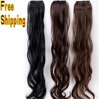 new fashion good quality women hair pad 1 piece Big discount hot sale girl brown black color wavy curly women hair extension