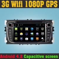 Pure Android 4.2 Car DVD for Ford Focus S-max Kuga Mondeo Galaxy Capacitive Screen GPS Bluetooth Cortex A9 Dual Core 1G CPU RMA
