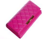 Tri-fold Sheepskin wallet  England check wallet women 2014 new brand genuine leather purse purple pink fashion GF10908