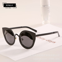 Novelty women vintage cat eye Sunglasses UV400 Glasses Coating Sunglass Round lens Gafas women metal frame oculos de sol
